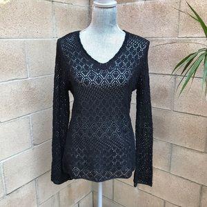 NWT Apostrophe Crochet Long Sleeve Sweater Medium